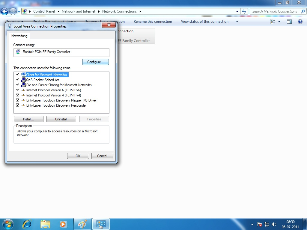 how to open network tab windows 7
