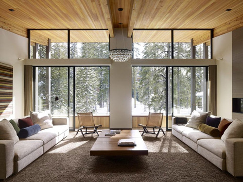 Nice Mountain House LIVING AND DINING Room Decor With Wooden Furniture | Mountain  Houses | Modern Mountain House Designs | Cabin Architecture |Contemporary  Cozy ...