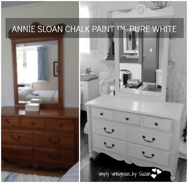 Before & After - dresser makeover - white