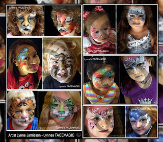 Childrens face painting sample. Birthday party design of Fairy tiger swirls and flowers