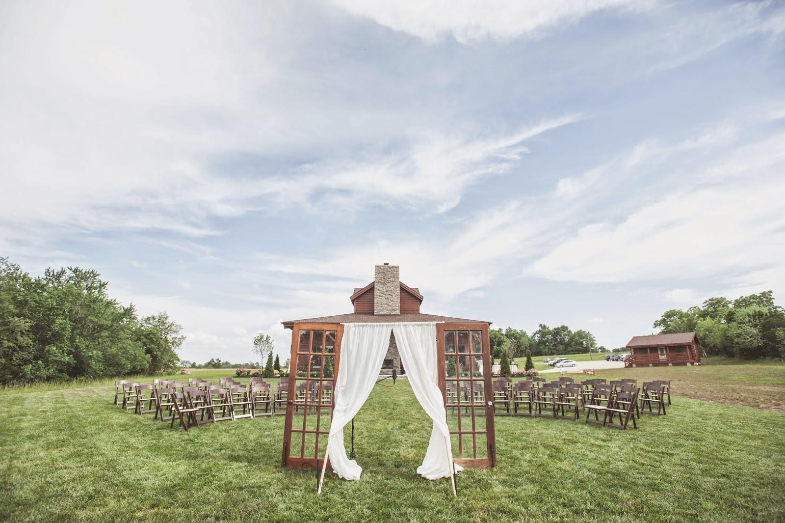 Vintage doors as wedding ceremony backdrop