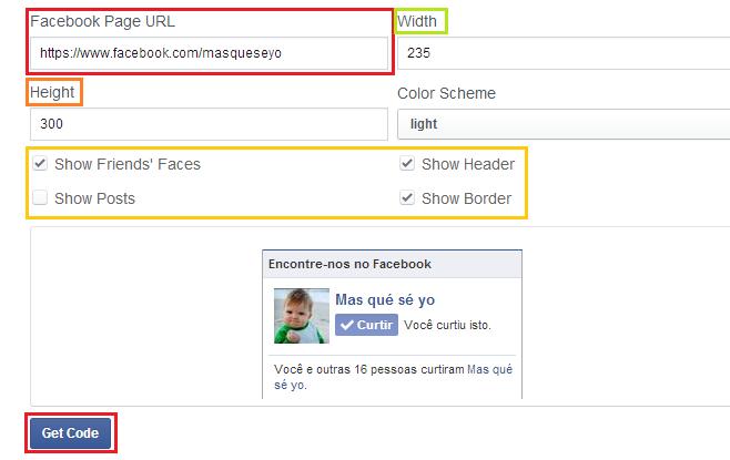 Criando uma likebox da sua página para o blog/site