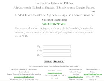 Resultados a Primer Ingreso de Educación Secundaria 2014-2015 IDANIS