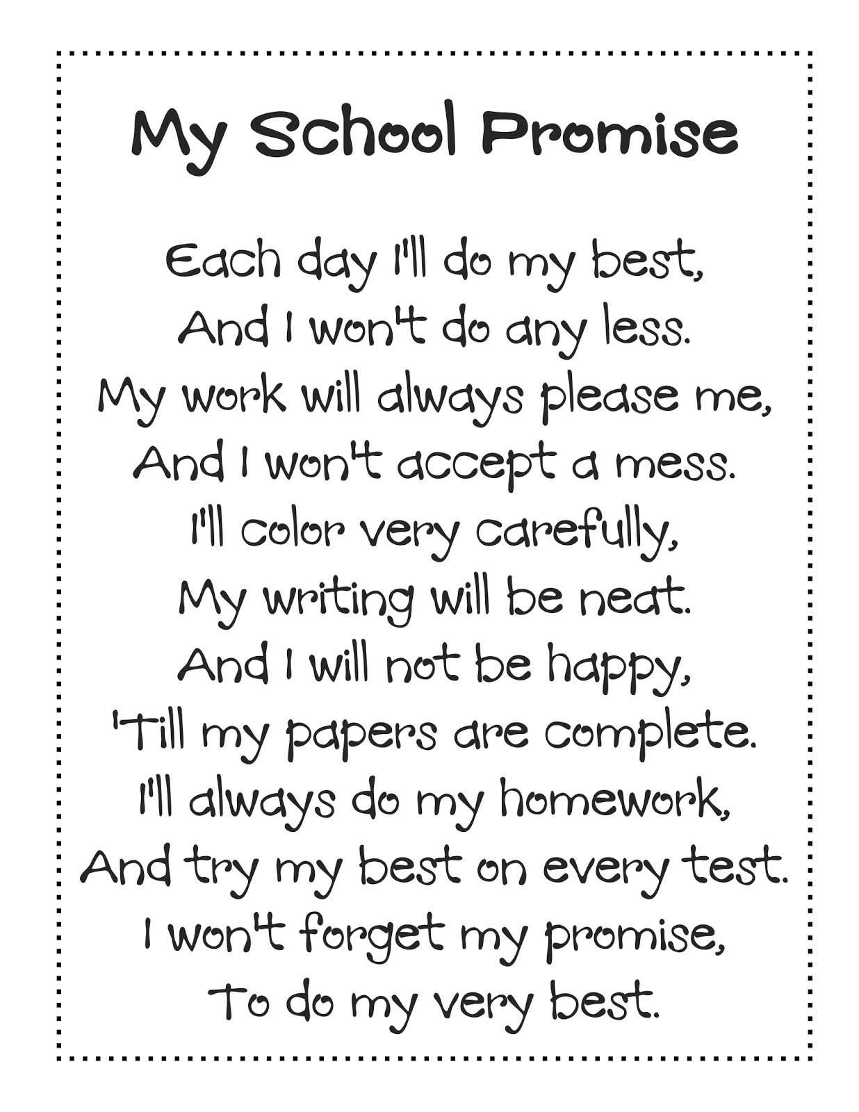 poem i will use is my school promise to download the poem please visit ...