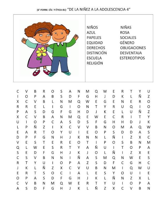 Sopa de letras de la equidad de género