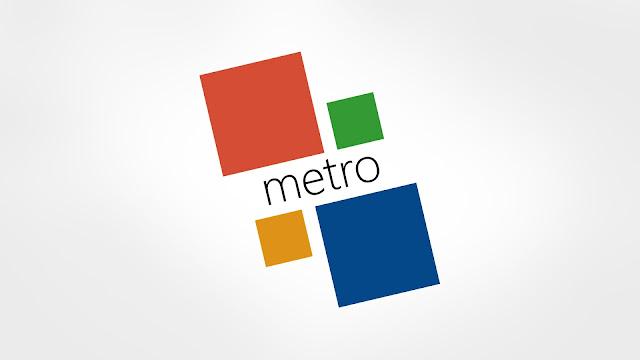 Grijze Windows 8 Metro achtergrond met tegels en de tekst Metro