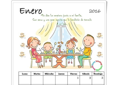 Calendario 2016 para Imprimir - Hermosos Motivos Infantiles
