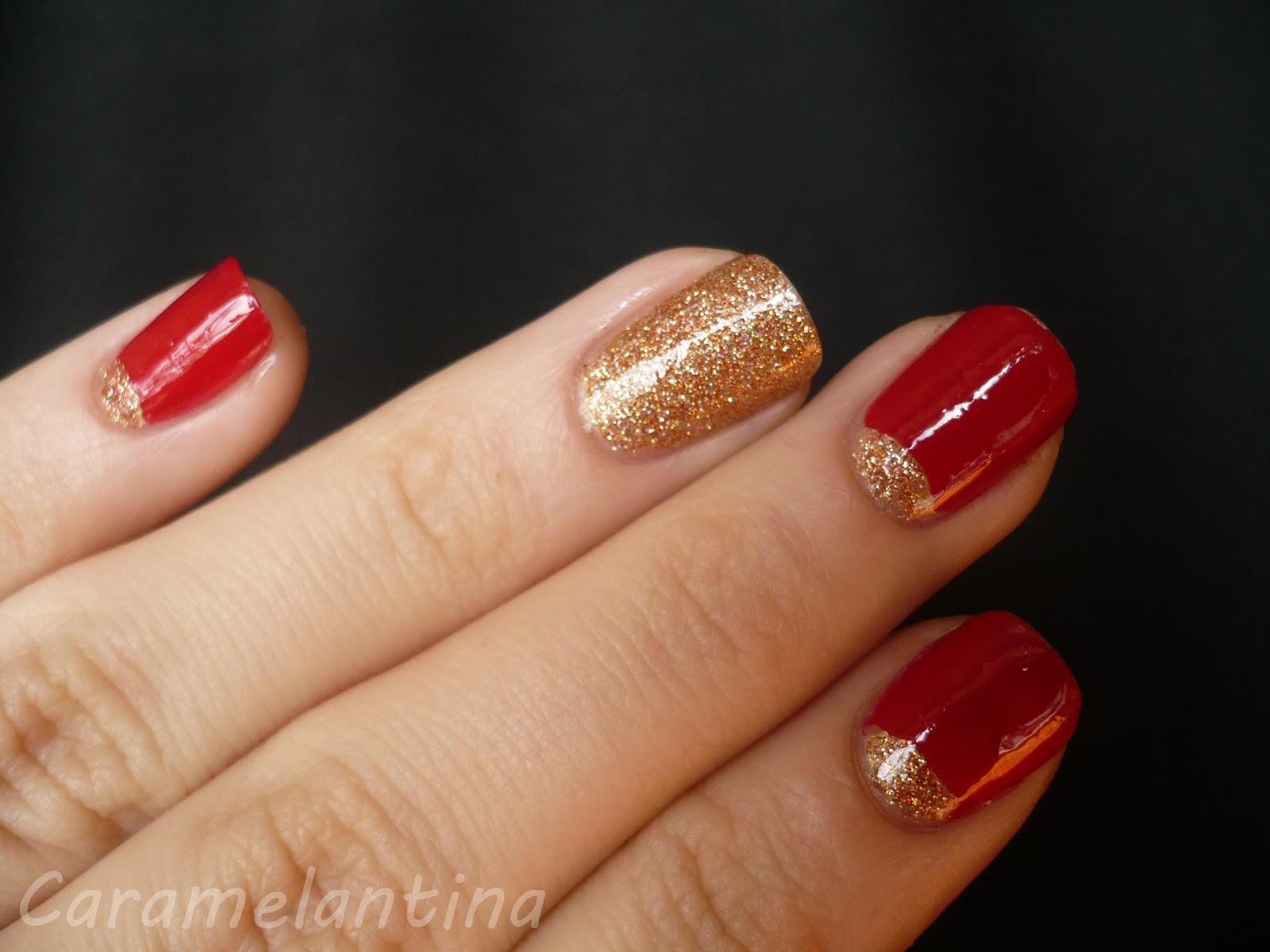 Manicuría navidad ideas, nail art, rojo y dorado
