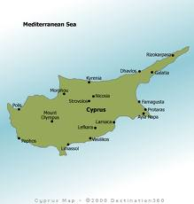 Kypr je třetí největší ostrov a tady je mapa