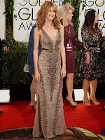 Лаура Дърн в права рокля с дълбоко деколте на Roberto Cavalli - Златен глобус 2014