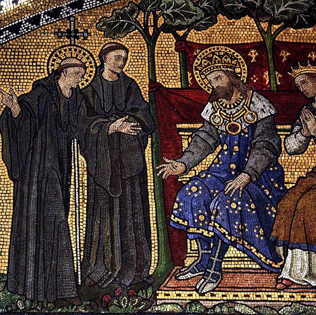 Santo Agostinho de Cantuária converte Santo Ethelberto,  rei dos Anglos do Leste, catedral de Westminster.