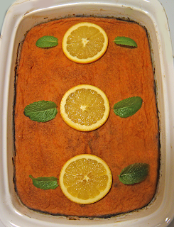 Completed Casserole with Orange Slices and Mint Leaves