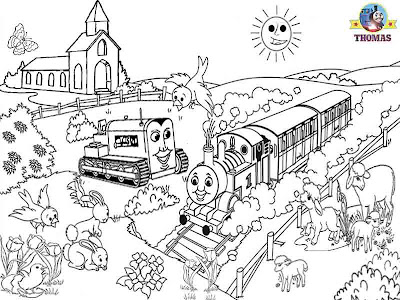 Boys Happy Easter lambs coloring pictures of Thomas the tank engine and friends Terence the tractor