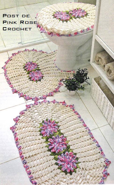 Set De Baño Tejido A Mano:Set+Bano+Tejido 697 Patrón de Juego de Baño tejido a Crochet