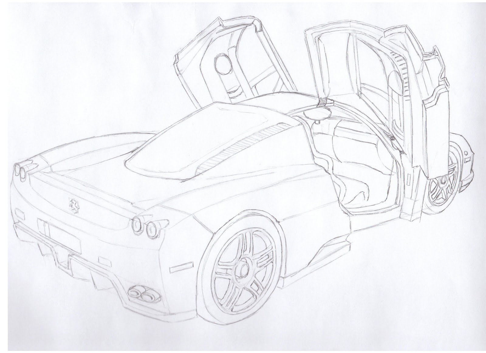how to draw a ferrari enzo!! | drawing lessons