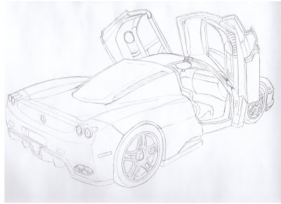 draw ferrari enzo pencil details