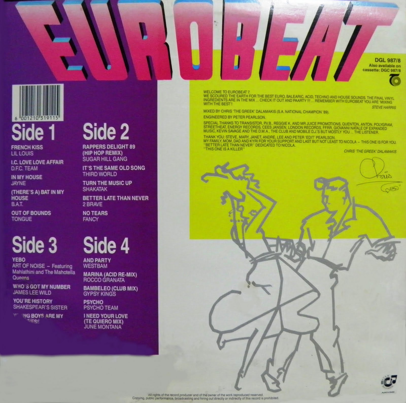 Eurobeat volume 7 90 minute non stop dance remix 2lp for Dance music 1989