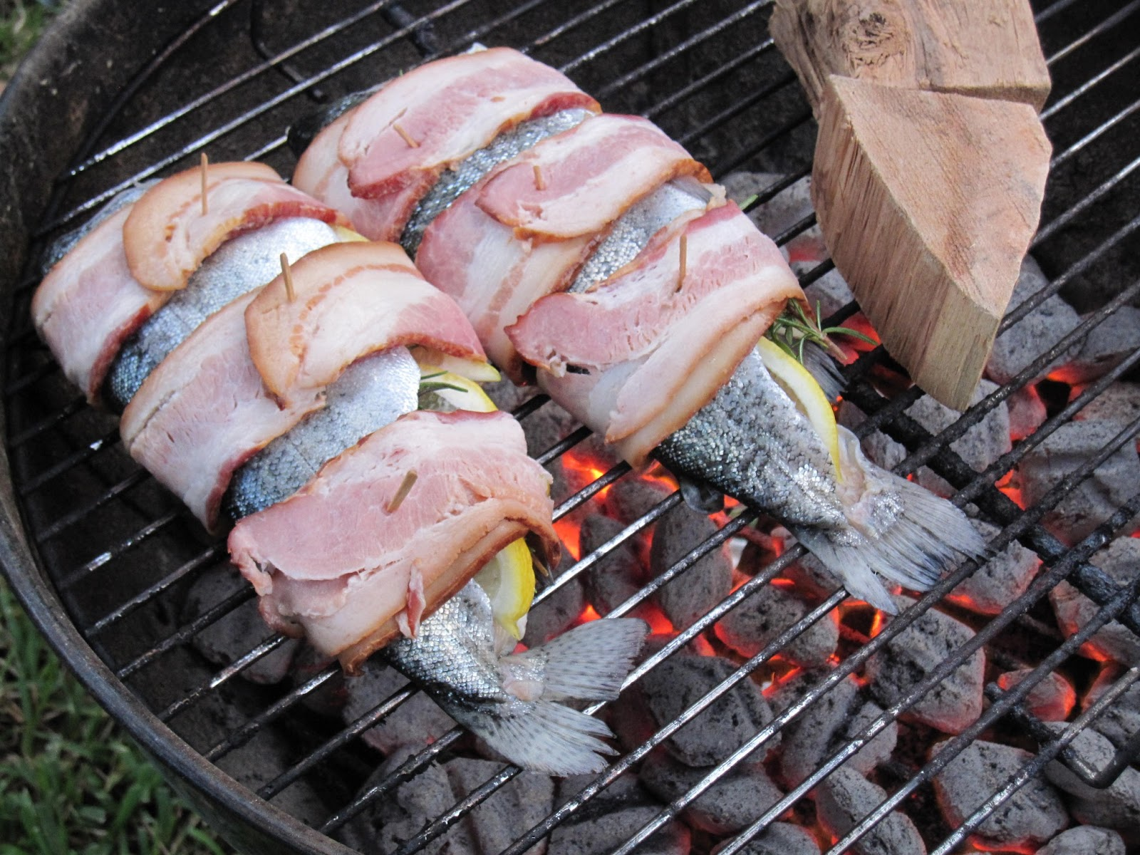 The Giggling Chef: Grilled Bacon Wrapped Herb Stuffed Rainbow Trout