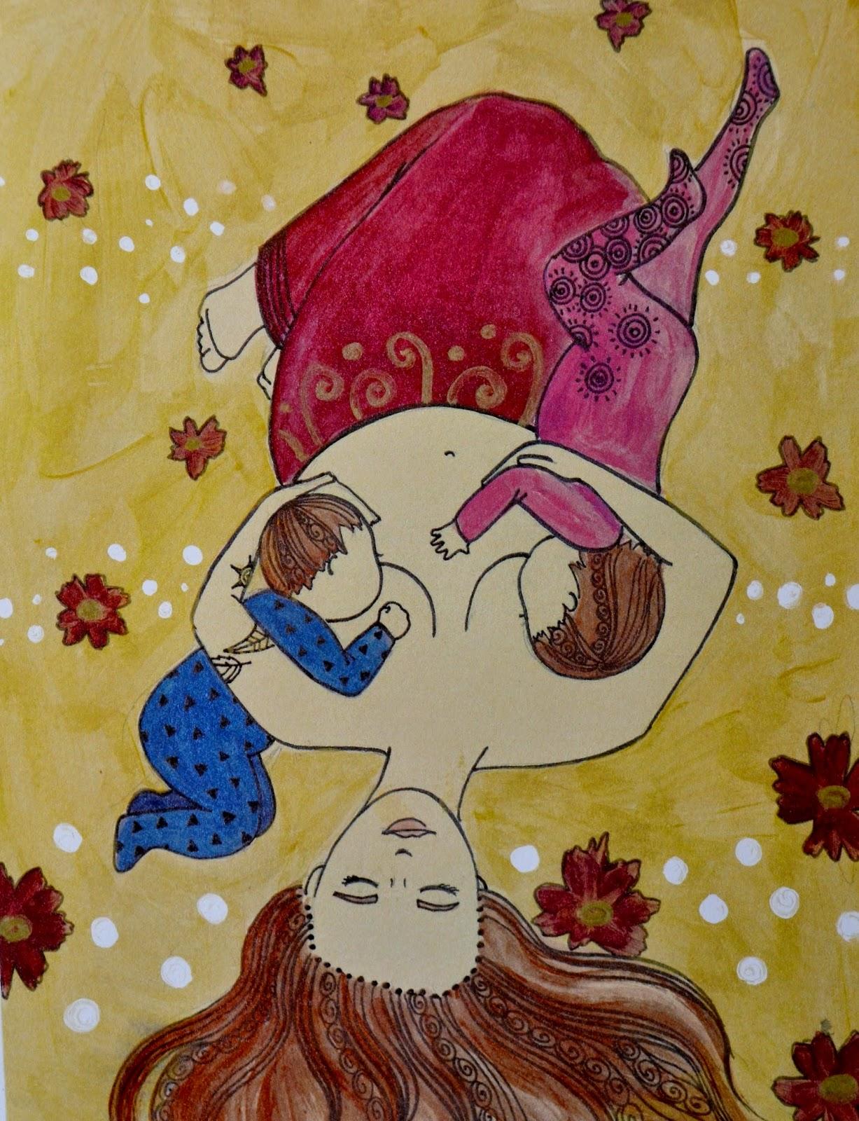tandem nursing breastfeeding art painting toddler breastfeeding