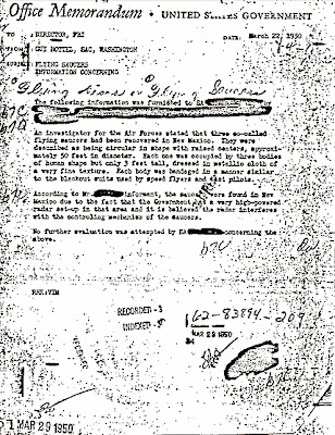 Flying Saucer Memo sent to J Edgar Hoover