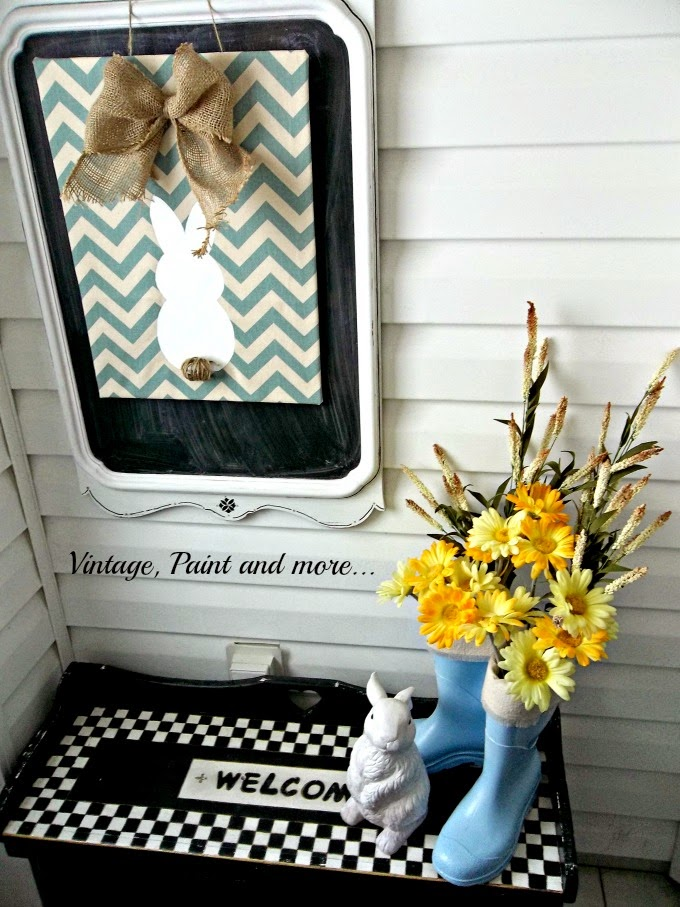Spring Entryway - chevron bunny sign, repurposed mirror to chalkboard, chalk paint bench, black and white check bench