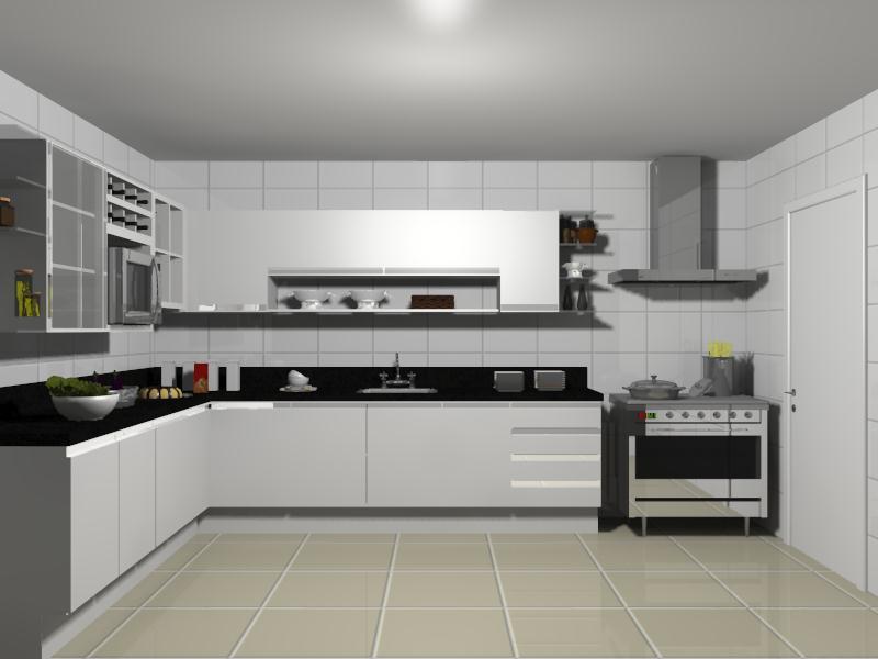 decoração de cozinha em forma de l