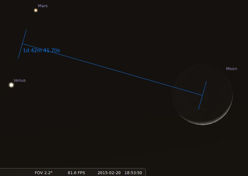 february mars venus moon
