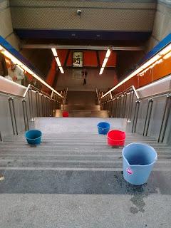 Foto de baldes y escalera