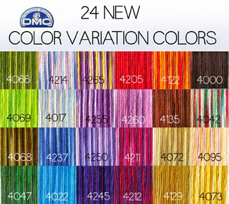 DMC variegated embroidery floss, 24 new colors