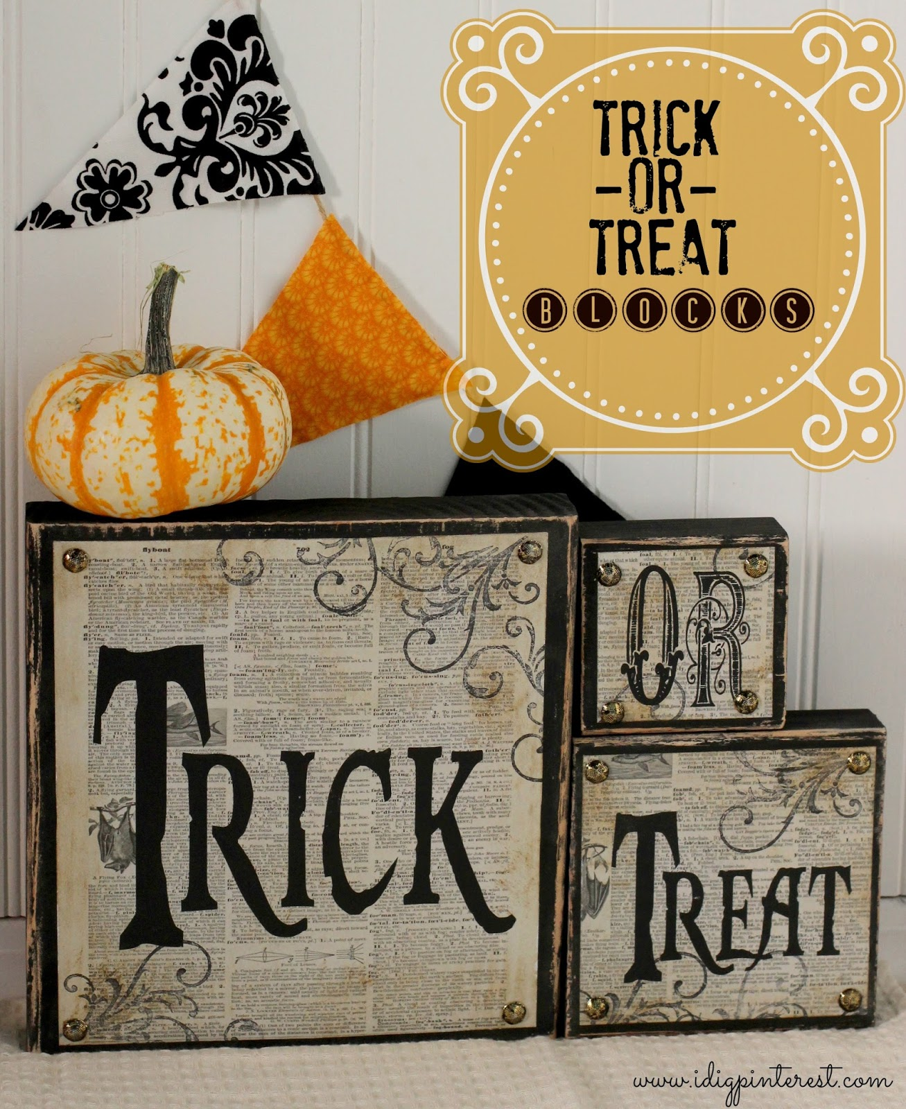 Diy Trick Or Treat Wood Blocks I Dig Pinterest