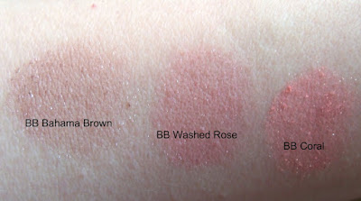 Bobbi Brown shimmery blush swatches Coral, Bahama Brown, Washed Rose