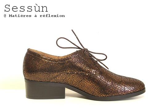 Chaussures Sessun derbies georgio cuir métalisé craquelié
