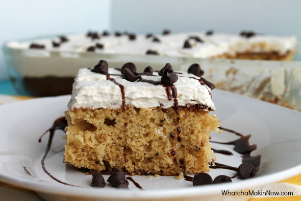 Caramel - Chocolate Chip Cake -- tastes like a chocolate chip cookie, but in cake form! Whipped cream frosting is so light and creamy!