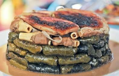 Upside-down knuckled grape leaves recipe