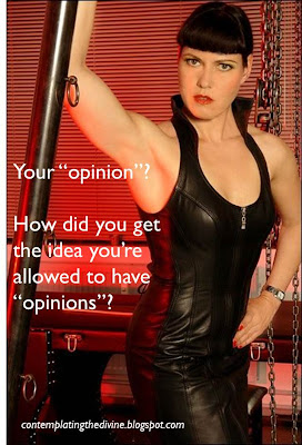 Dominatrix does not approve of men having opinions