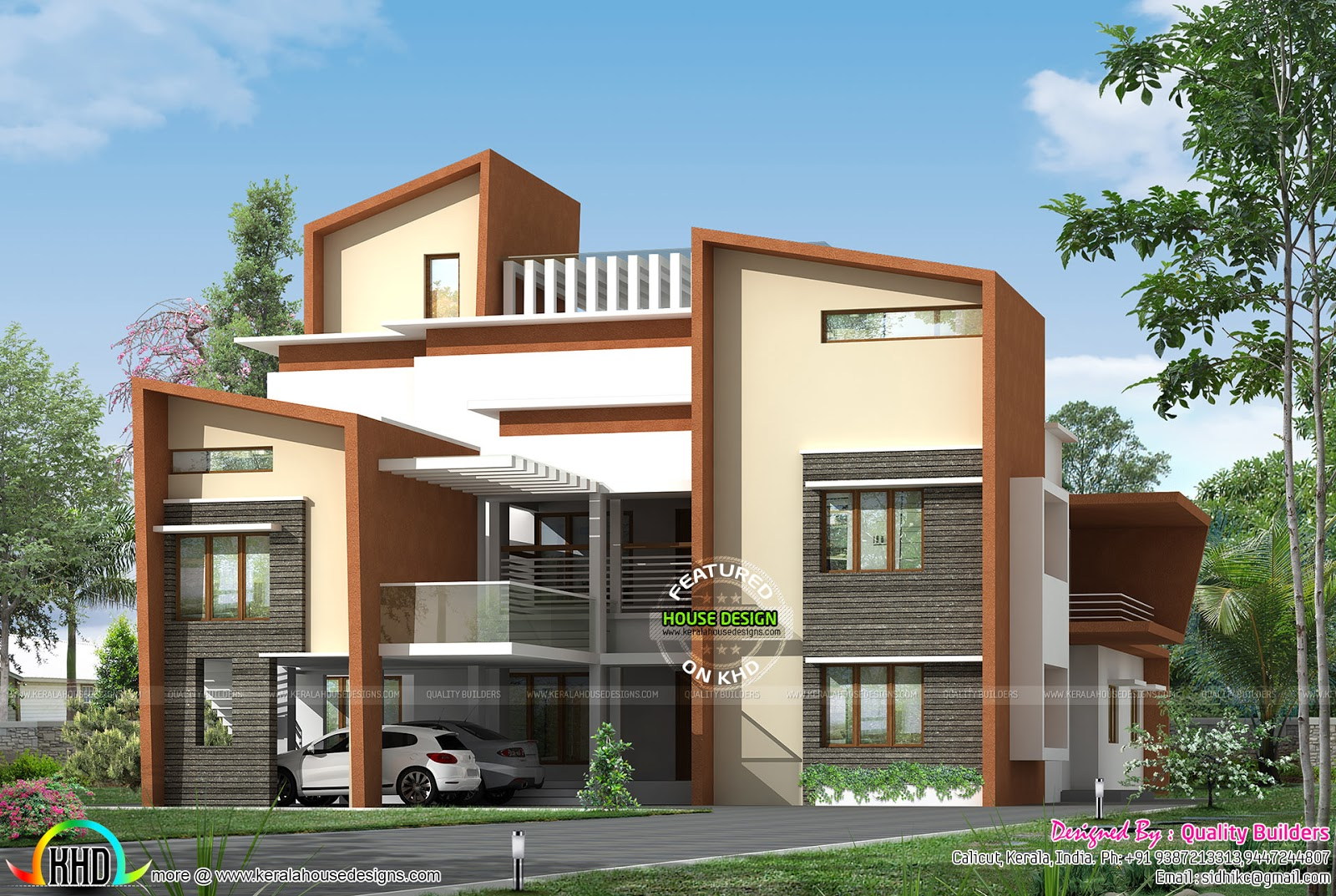 Big luxury contemporary home kerala home design and for Modern luxury house plans and designs