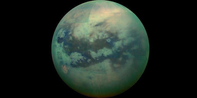 This composite image shows an infrared view of Saturn's moon Titan from NASA's Cassini spacecraft, acquired during the mission's ''T-114'' flyby on Nov. 13, 2015. Credit: NASA/JPL/University of Arizona/University of Idaho