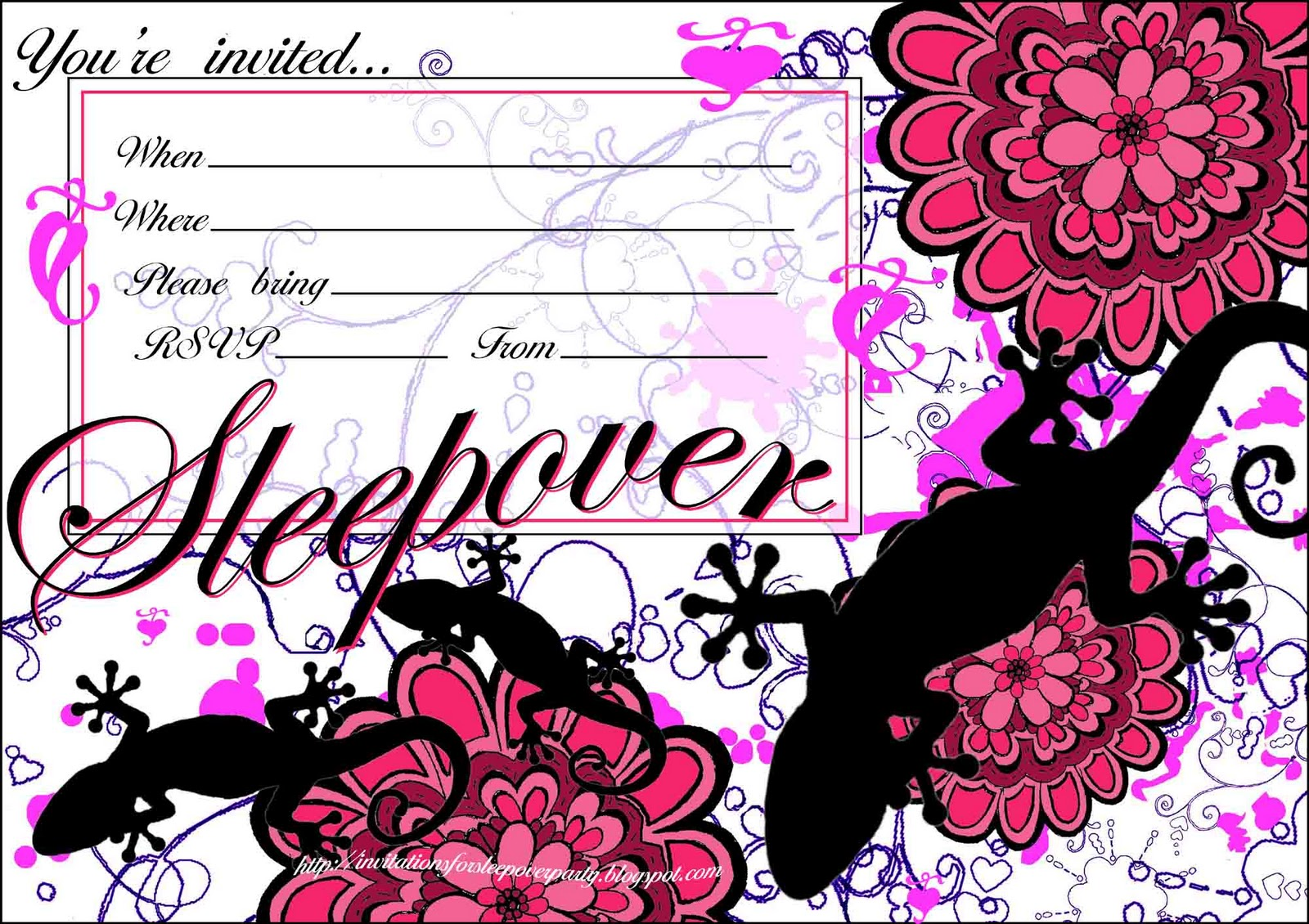 girls sleepover party invitations - Paso.evolist.co
