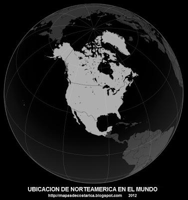 Ubicacion de Norteamerica en el mundo