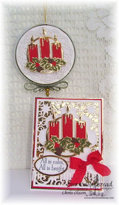 Our Daily Bread Designs, Perfect light stamp set, Christmas Candle die, Beautiful Borders die, Ovals die, Stitched Ovals die, Flourished Star Pattern die, doily die, Fancy Foliage die, created by Chris Olsen
