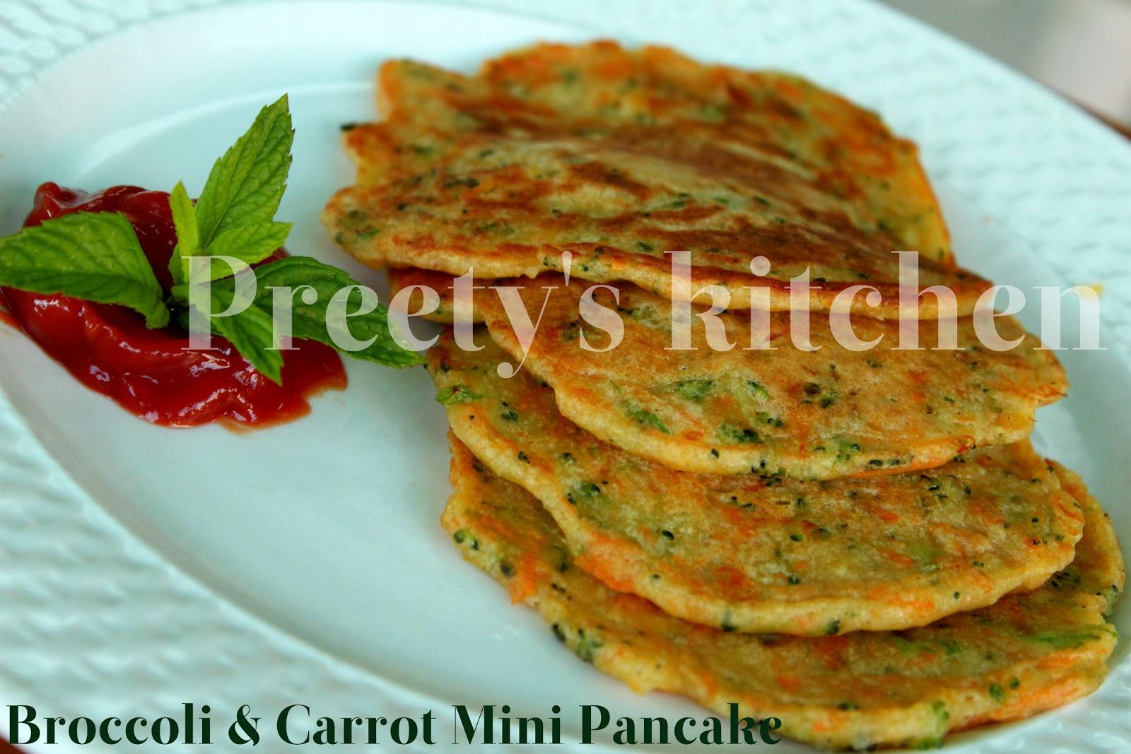Preety's Kitchen: Broccoli & Carrot Mini Pancakes