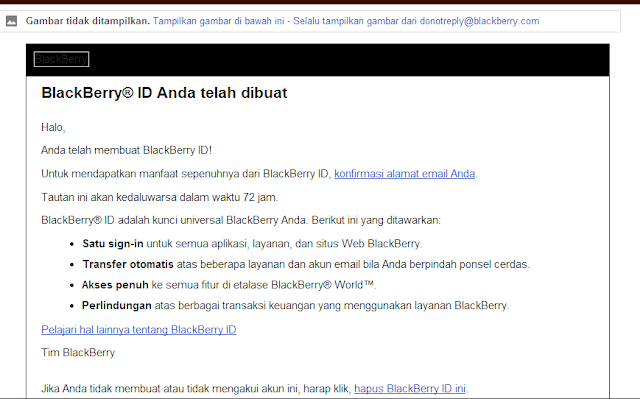 Konfirmasi email BBM Android