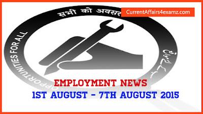 Employment News August 2015