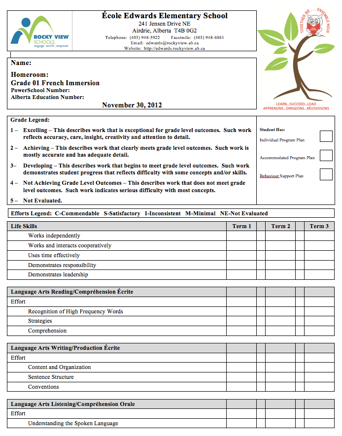 student report template word