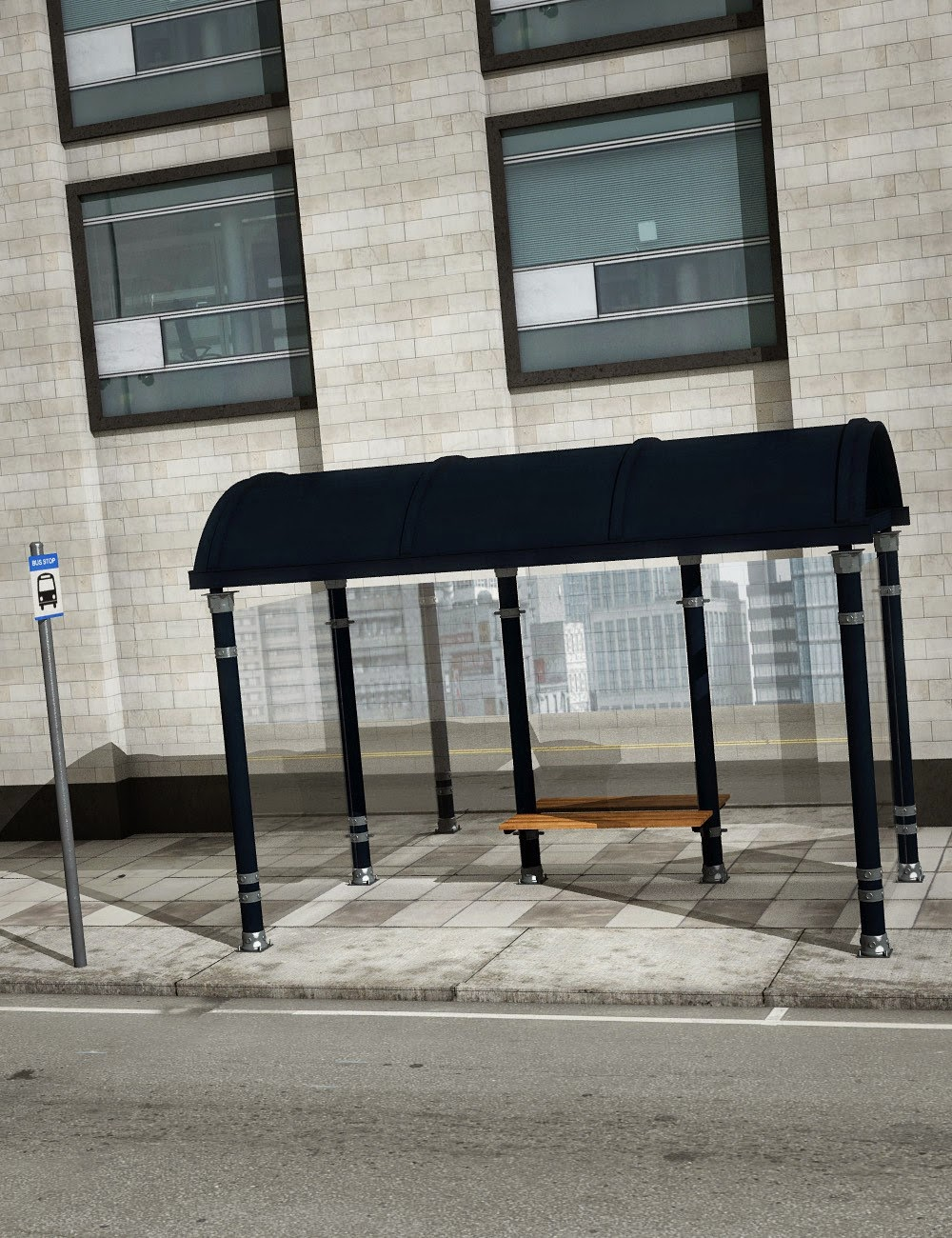 L'arrêt de bus de la ville