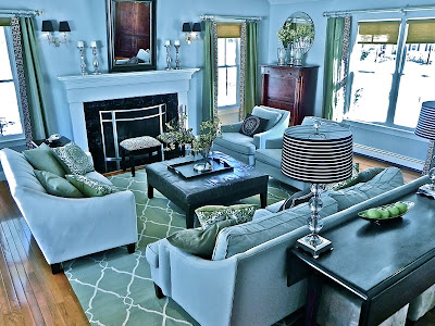 family room, blue, green, decorating, design, interior design, interior decorating