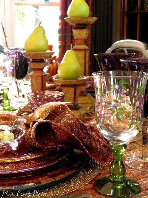 Plumcreek Place - Purple, gold, bronze, and copper Fall tablescape.