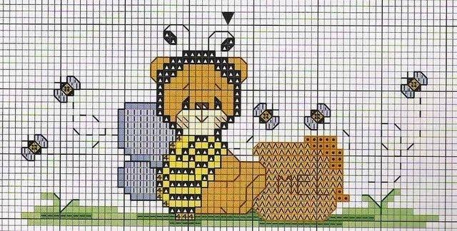 Схему вышивки крестом пчелка 91