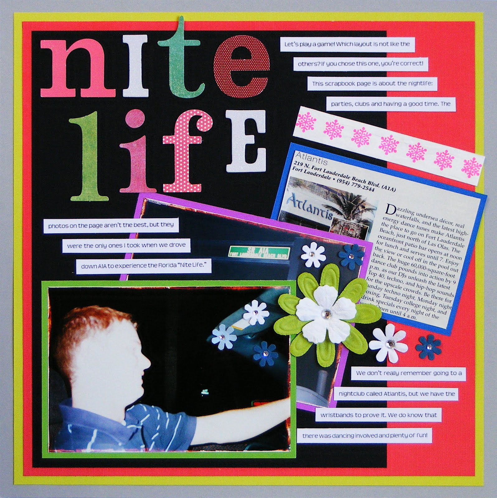 Pregnancy scrapbook ideas journaling - Journaling Let S Play A Game Which Layout Is Not Like The Others If You Chose This One You Re Correct This Scrapbook Page Is About The Nightlife