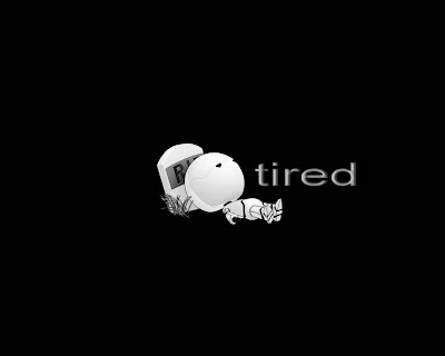 black wallpaper showing a tired cartoon boy
